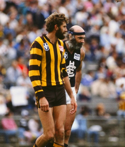 Michael Tuck and Bruce Doull battle for Beard of the Year honours....legends of the game.