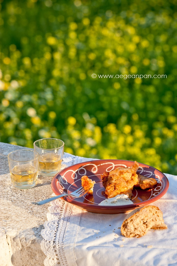 Bakaliaros Skordalia     (Batter-fried Salt Cod with Garlic spread)    recipe from www.aegeanpan.com