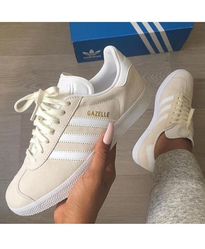 best website f8941 06edc Adidas Gazelle Vapour White Gold Trainers Clearance