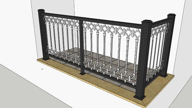 Large preview of 3D Model of Aluminium Balustrade for Balcony