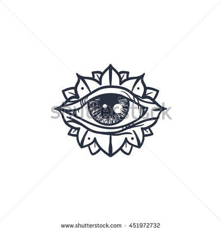 Vintage All Seeing Eye in Mandala. Providence magic symbol for print, tattoo…