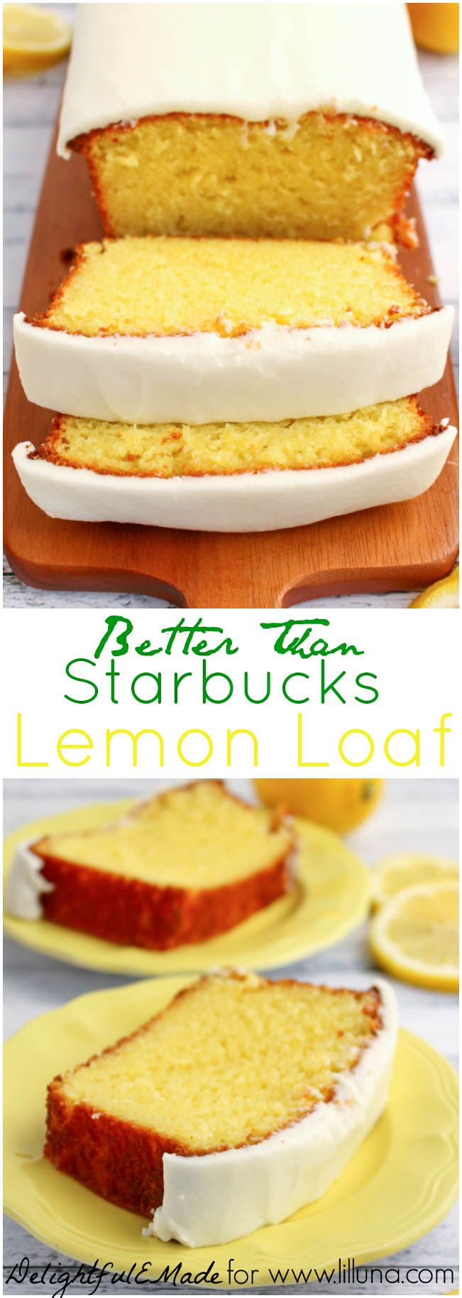 substitutet oil with zucchini and jogurt!! If you like Starbucks Lemon Loaf, then you'll love this moist, delicious Lemon cake!  This easy to make recipe, is loaded with delicious lemon flavor, and topped with an amazing lemon frosting.