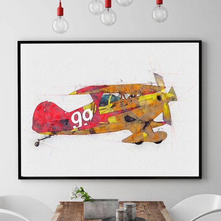 Airplane Decor, Airplane Nursery Print, Aviation Gifts, Aviation Wall Art, Nursery Decor, Kids Room Wall Art, Giclee (N301) by PointDot on Etsy