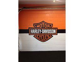 Garage Mural -- Harley-Davidson mural on interior garage wall of client's man cave  www.DebbieViola.com