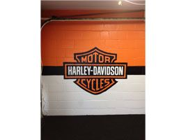 Garage Mural -- Harley-Davidson mural on interior garage wall of client's man cave  www.DebbieViola.com