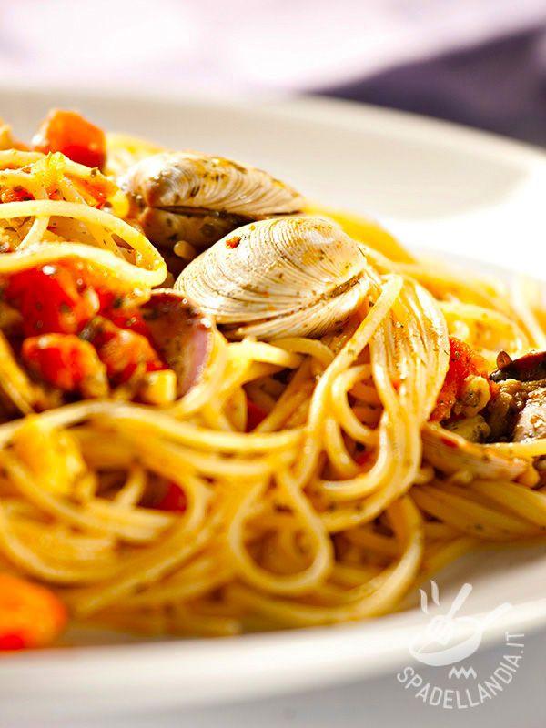 Gli Spaghetti alle vongole e pomodorini freschi sono un grande classico della cucina marinara del Belpaese, facili, veloci e sempre infallibili!