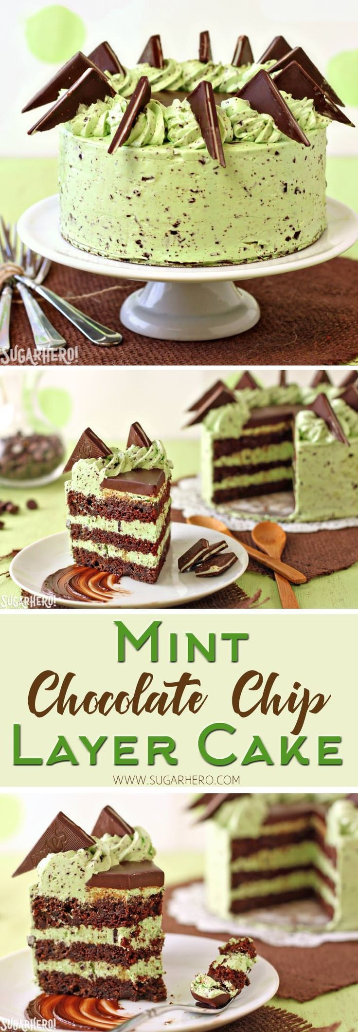 Mint Chocolate Chip Layer Cake - chocolate cake with Andes mints and a DELICIOUS mint chip frosting! | From http://SugarHero.com