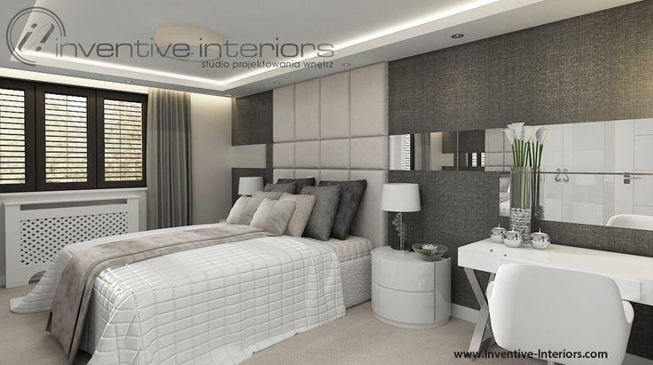 Projekt sypialni Inventive Interiors - jasna szaro-beżowa sypialnia z dodatkami w bieli