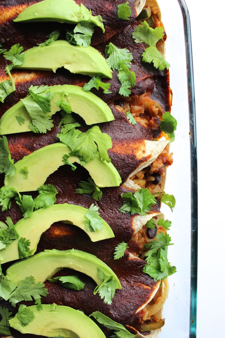 These Vegan Burrito Bowl Enchiladas are the perfect main dish for your Cinco de Mayo celebrations!