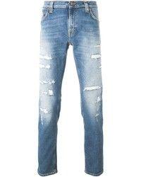 Jean skinny déchiré bleu clair Nudie Jeans