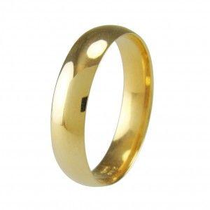 Alianza de boda clásica, oro pulido de18k/750mls, de 5mm