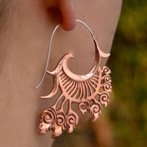 Dream Catcher Earrings Copper and Sterling Silver by Zephyr9