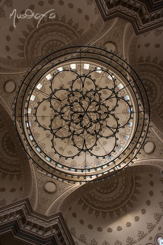 Al Noor mosque Sharjah. It is built on a lagoon on the Buhaira Corniche