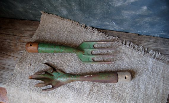 Vintage Garden Tools: Pair of Rustic Garden Hand Tools, Garden Cultivator and Fork, Weathered Gardening Tools