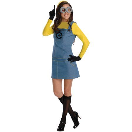 Despicable Me Lady Minion Adult Halloween Costume, Size: Large, Blue