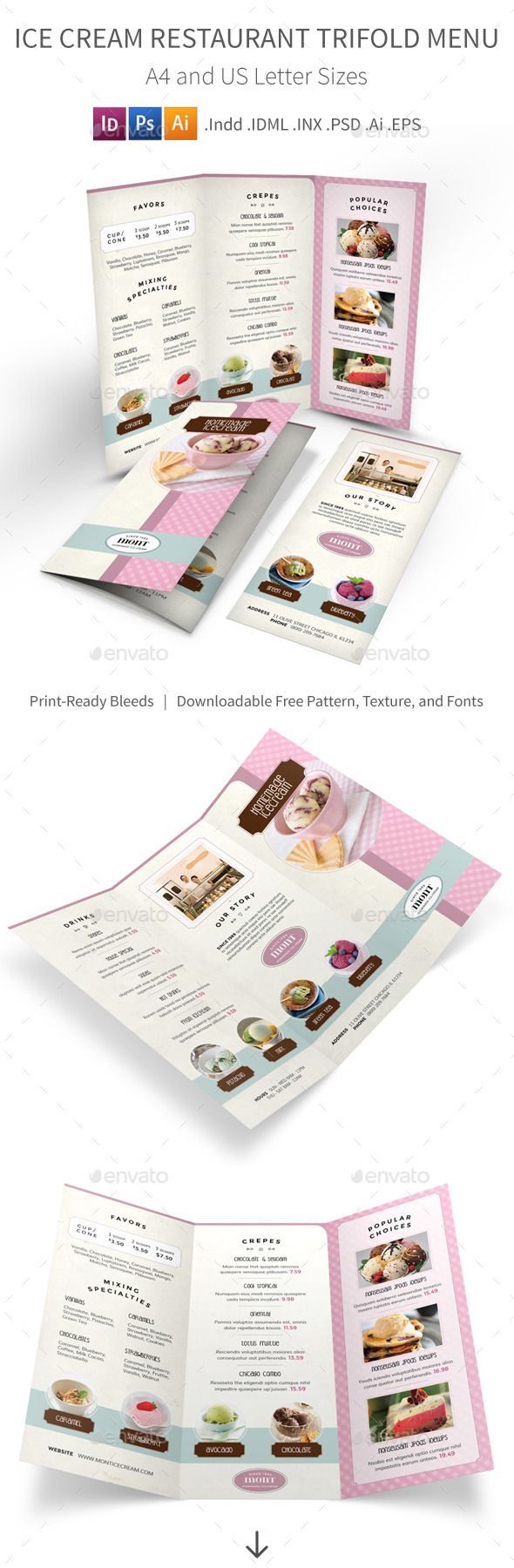 Ice Cream Restaurant Trifold Menu Template #design #alimentationmenu Download: http://graphicriver.net/item/ice-cream-restaurant-trifold-menu/12236391?ref=ksioks