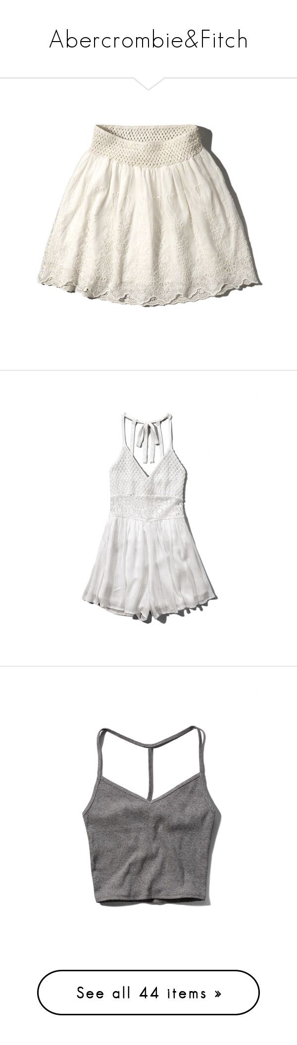 """Abercrombie&Fitch"" by anna-laboa ❤ liked on Polyvore featuring logo, skirts, cream, smocked skirt, white circle skirt, white skater skirt, circle skirts, lacy skirt, jumpsuits and rompers"