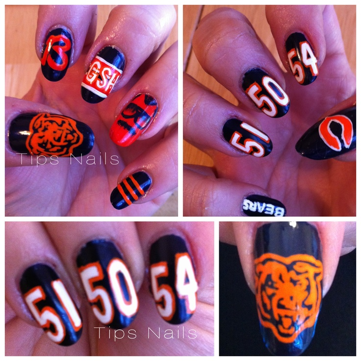 Chicago Bears Nails! Free-hand painted @POP_Nails with Orly Instant Artist. (Formerly Tips Nails)    Visit me in Chicago at popnailschicago.com