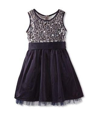 63% OFF Mini Treasure Kids Girl's Sophia Sequin Dress (Navy)