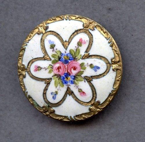 Antique Hand Painted Enamel Button w/Metal Border; Circa 1800's