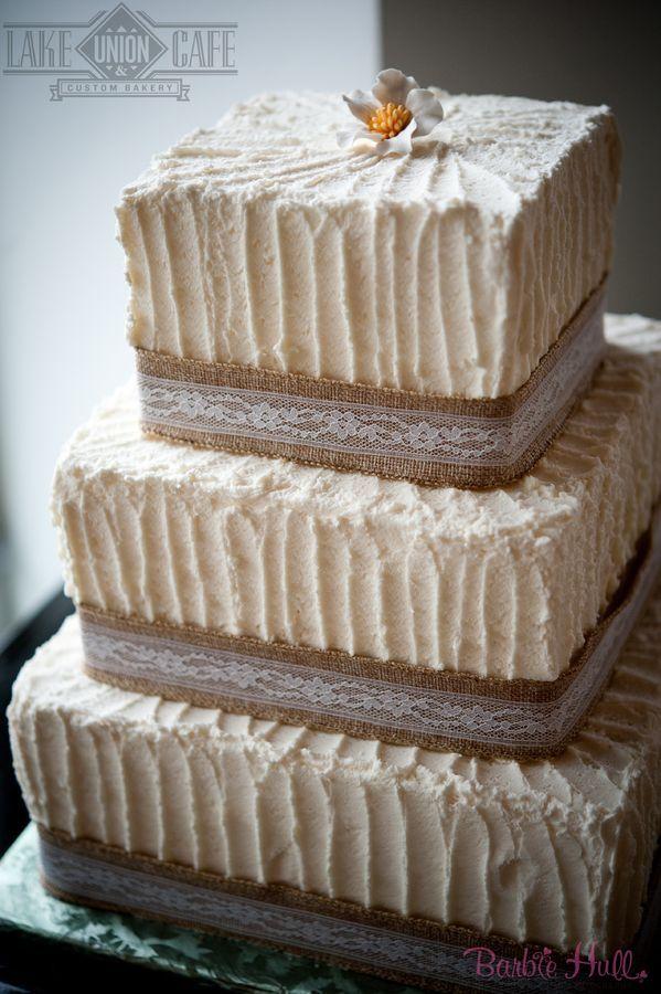 Rustic wedding cake with burlap and lace. Lake Union Cafe & Custom Bakery Seattle, WA