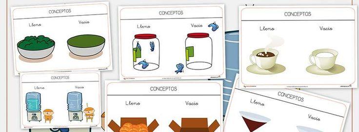 Fichas de conceptos contrarios: Nueva entrega de fichas para trabajar los conceptos: En esta ocasión Lleno y Vacio. Repasa los conceptos