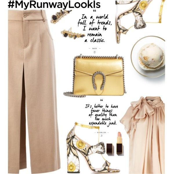 Classic with hint of gold by nataskaz on Polyvore featuring moda, Chloé, Gucci, Kendra Scott, Tom Ford and Disney