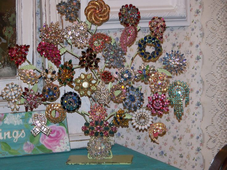 One of my brooch trees to keep them on display. :)                                                                                                                                                                                 More