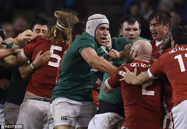 Tempers flare during Saturday's international match at theAviva Stadium in Dublin