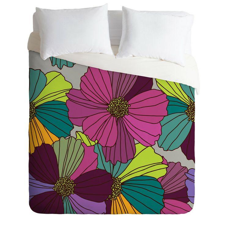 Juliana Curi Gray Flower Duvet Cover   DENY Designs Home Accessories