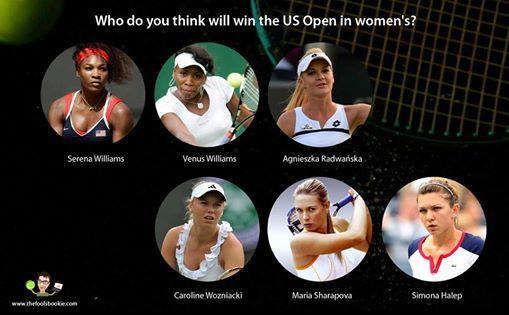 So who do you think will win the US open in women's?  1. Serena Williams 2. Venus Williams 3. A Radwanska 4. Maria Sharapova  5. Caroline Wozniacki 6. Simona Halep  For more prediction visit: http://thefoolsbookie.com/ #usopen2014 #nadalwithdraws #tennisworld #tennis #thefoolsbookie