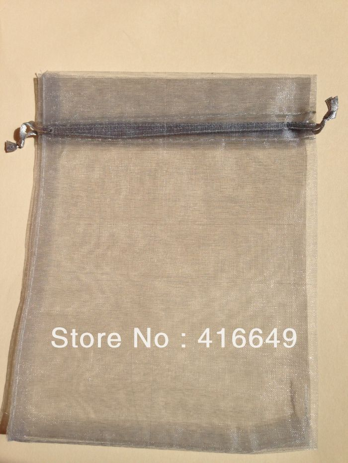 100 пс / lot серый 18 * 28 см свадьба область рисования органза вуаль ювелирные изделия подарок упаковка сумки сумки