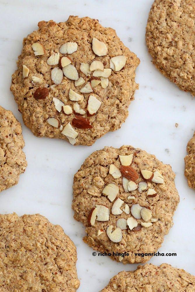Almond Butter Oatmeal Cookies. Vegan Gluten-free Oil-free Recipe | Vegan Richa