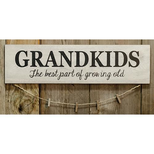 "Grandkids Sign w/Clothespins is made of painted wood and features a jute string with clothespins hanging from the bottom. It measures 6"" high by 22"" wide. FREE SHIPPING! WE SHIP IN 3-5 BUSINESS DAYS"