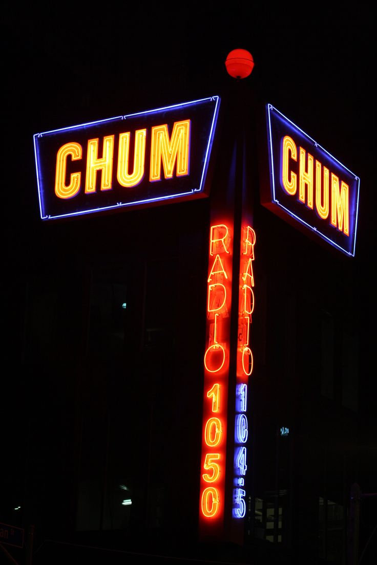 CHUM radio neon signs Toronto, my favourite radio station growing up. Favourite DJ was Jungle Jay Nelson.