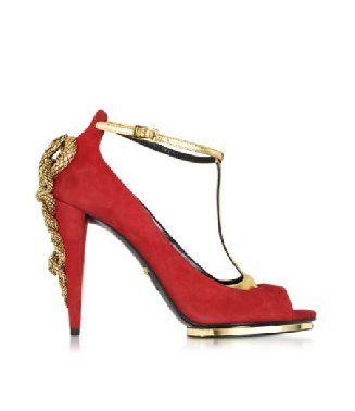 #RobertoCavalli #Althea #Sandalo in Suede #RossoFuoco e Metallo #Oro #taccoalto Donna Prezzo: €940