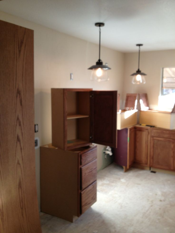 And so it begins with the kitchen cabinets.