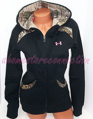 Under Armour Womens Realtree Camo with Pink Accents Hunting Hoodie Jacket Small | eBay
