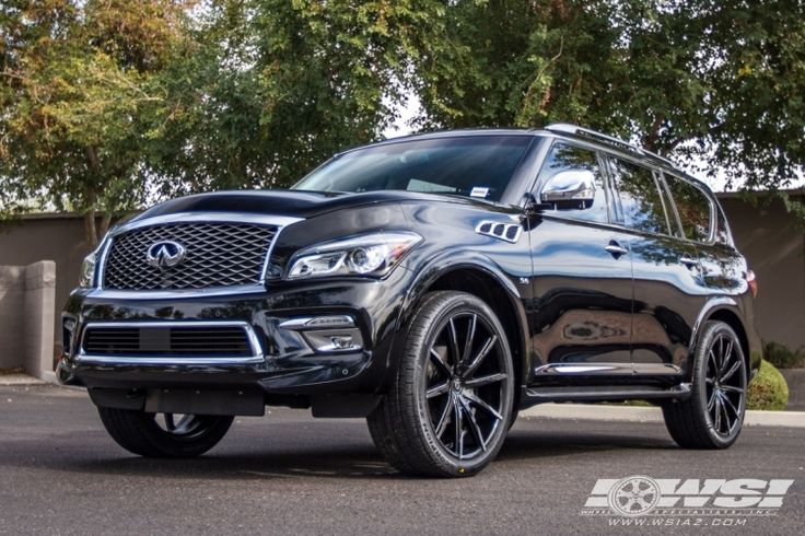 "2016 Infiniti QX80 with 24"" Lexani CSS-15 CVR in Black Machined (Concave Series) wheels"