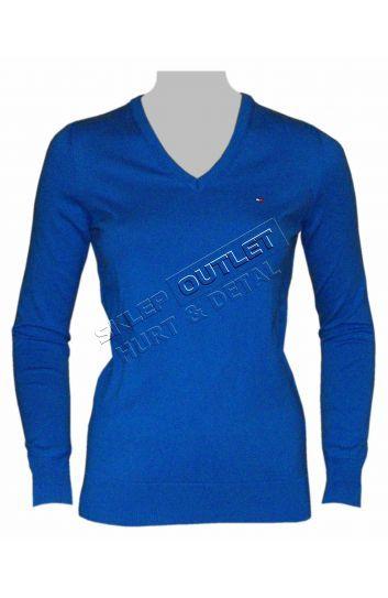 Damski sweter Tommy Hilfiger V-neck niebieski