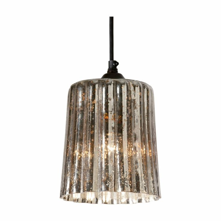 Silver Home Decor. Ribbed Mercury Glass Pendant