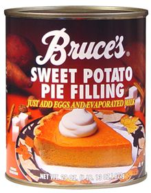 Sweet Potato Cake  I found a terrific and simple recipe for sweet potato cake on the label for Bruce's Sweet Potato Pie Filling. (I think the recipe would work fine with pumpkin pie filling as well). I was a little skeptical because you don't add any cooking oil or butter, but the cake came out moist and delicious.    Ingredients        1 can sweet potato pie filling      1 box French vanilla cake mix      3 eggs      1/4 cup brown sugar      1/4 cup chopped pecans or walnuts    Directions…