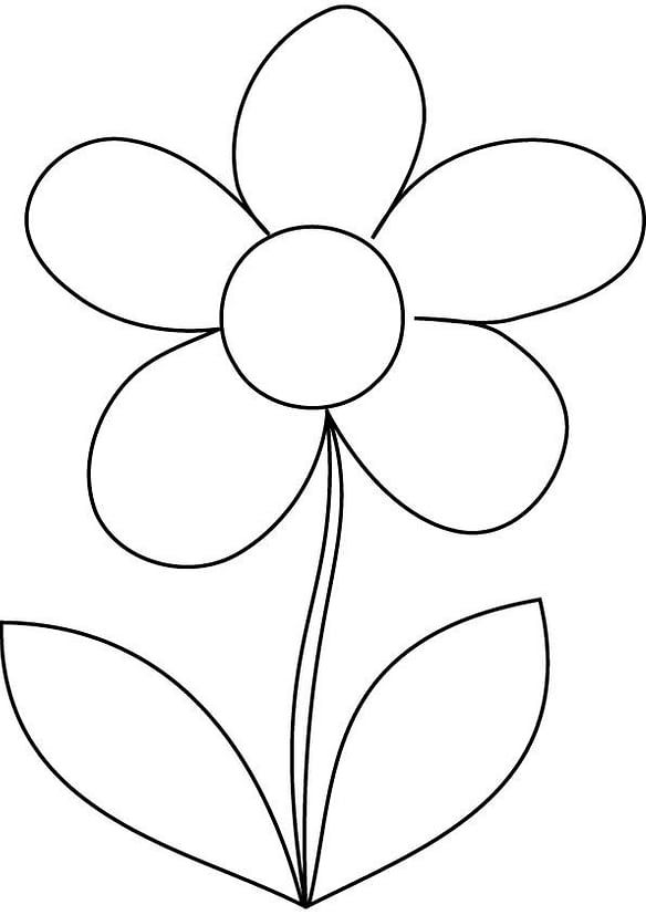 Easy Flower Coloring Pages In 2020 Printable Flower Coloring