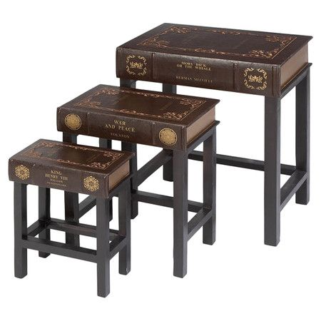 Found it at Wayfair - 3 Piece Nesting Table Set in Brown  sc 1 st  Pinterest & 263 best Book Tables images on Pinterest | Old books Book table and ...