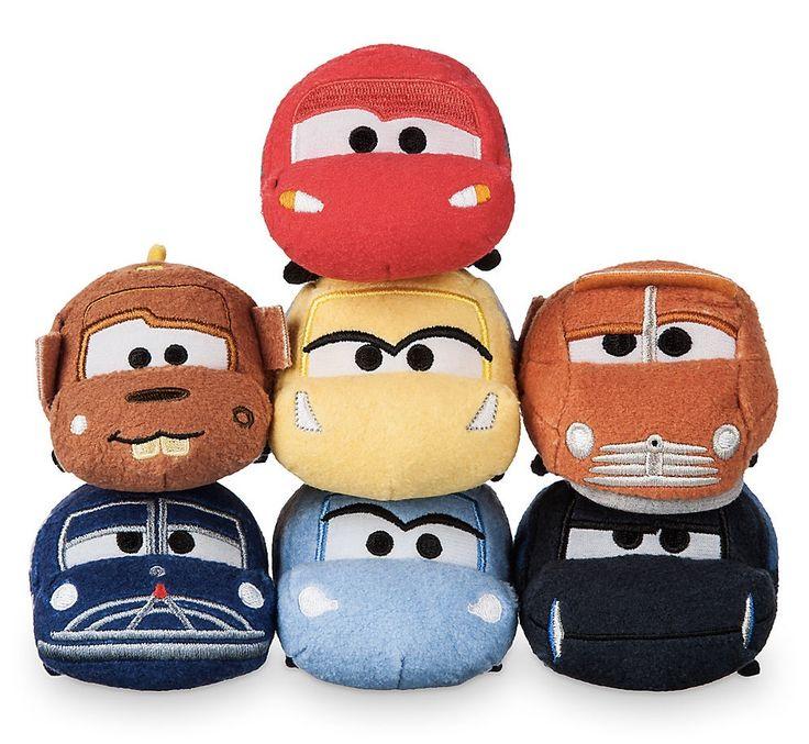 Mini Cars 3 Tsum Tsum Set - Lightning McQueen, Cruz Ramirez, Smokey, Jackson Storm, Sally, Doc Hudson, and Tow Mater