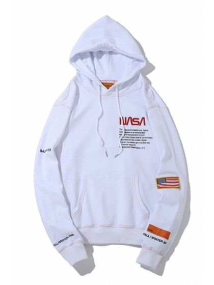 bbc3f1794 Letter NASA Patched Long Sleeve Loose Fitted Sports Hoodie in 2019 ...