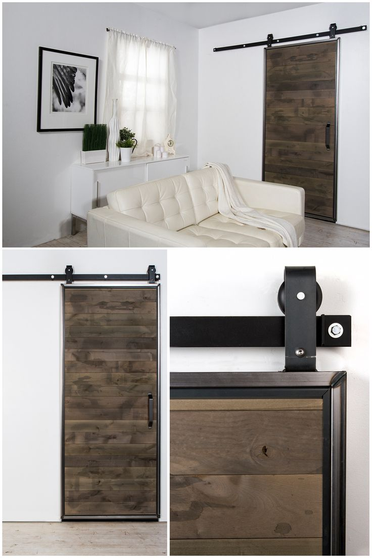 Add rustic charm to your home with this beautiful hardwood barn door. It can be a great space-saver, too. This kit comes with the finished door and all the hardware to make installation easy. Click through to learn more.