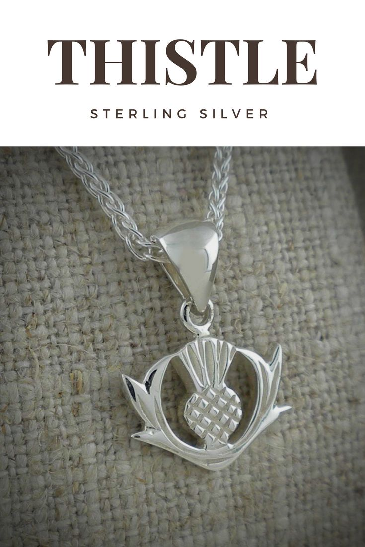 "Delightful Scottish Thistle Pendant in Sterling Silver. Show Your Scottish Pride by wearing Scotland's National Flower! Pendant: 1/2"" W x 3/4"" L including bale.  18"" Sterling Silver chain. Nicely boxed with silver cloth. By Keith Jack"