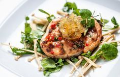 Baked soy salmon with enoki mushrooms, lemon soy vinaigrette and ginger jam. The flavours of salmon and soy go hand-in-hand, and Andy Waters plays on this combination beautifully in this salmon and soy recipe