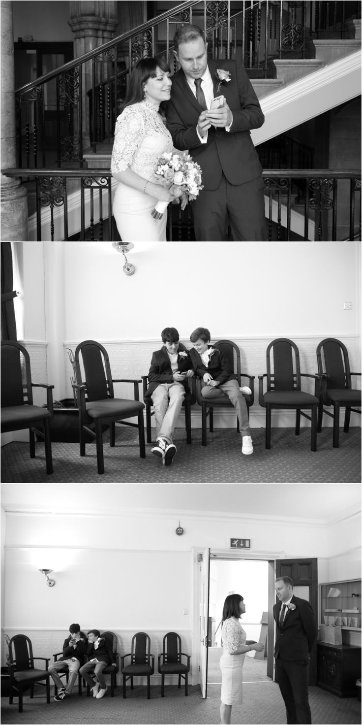 Black and white elopement photography, Ealing town hall, documentary wedding photography